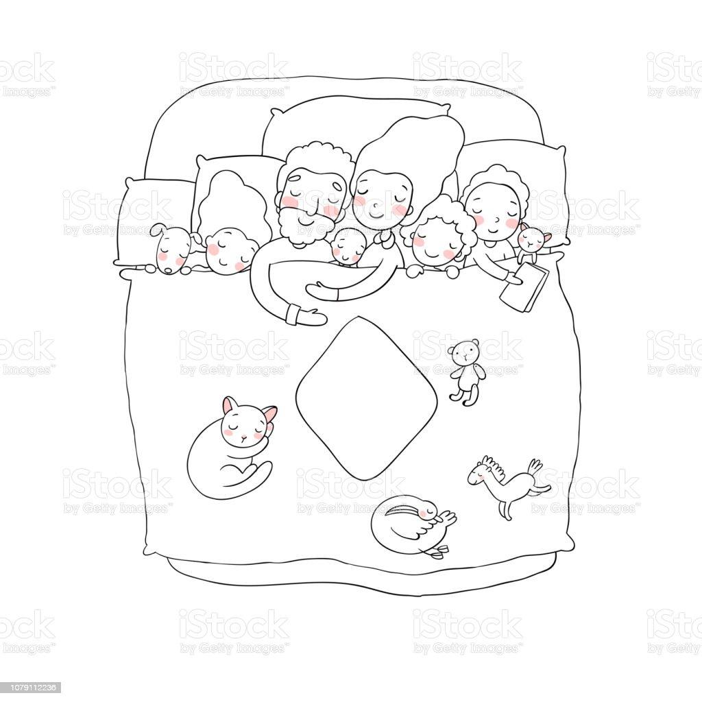 Sertie De Famille Dort Dans Son Lit Bébé Papa Et Maman De
