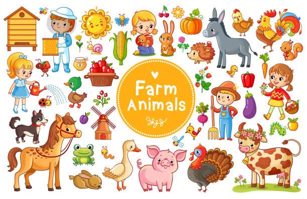 set mit tieren vom bauernhof. - kaninchenbau stock-grafiken, -clipart, -cartoons und -symbole