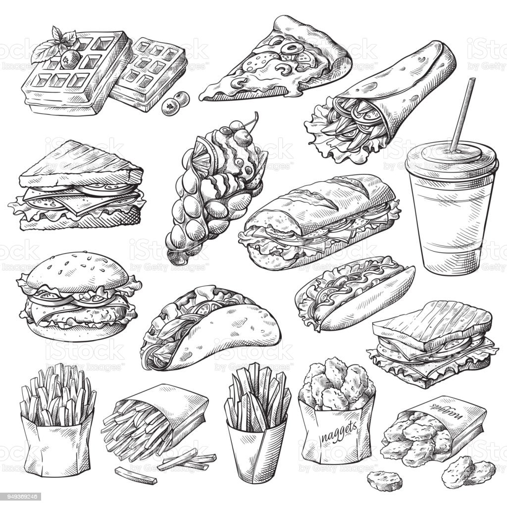 Set with fast food products vector art illustration