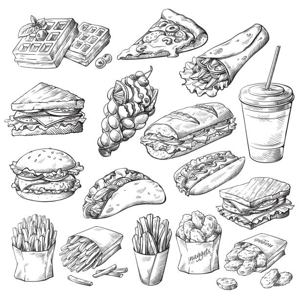 stockillustraties, clipart, cartoons en iconen met set met fast-food producten - hamburgers