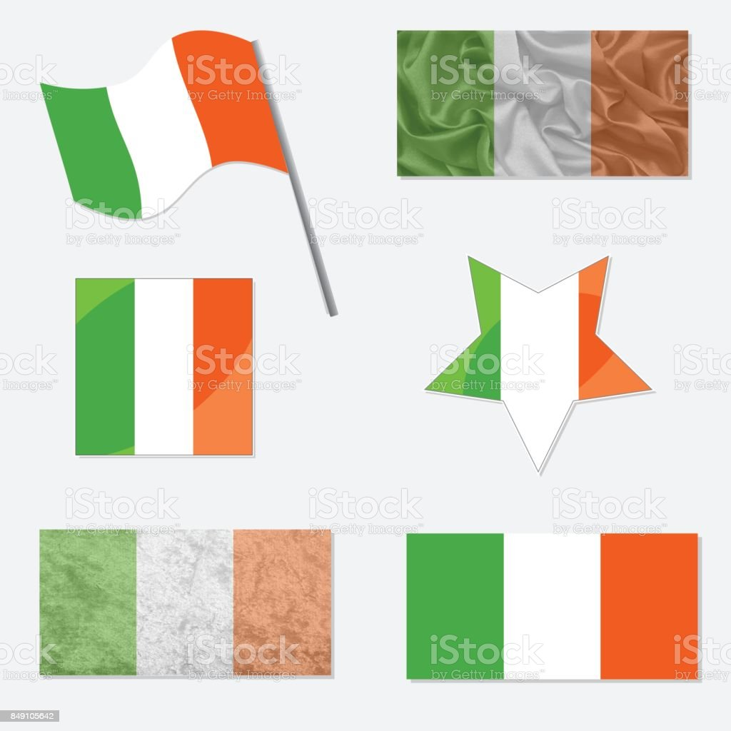 Set with Flags of Ireland vector art illustration