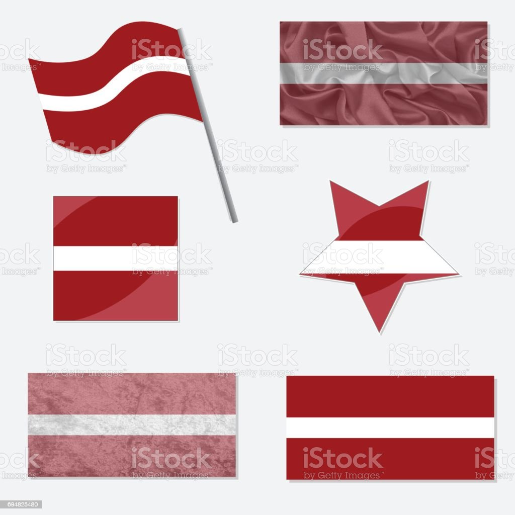 Set with Flags of Latvia vector art illustration