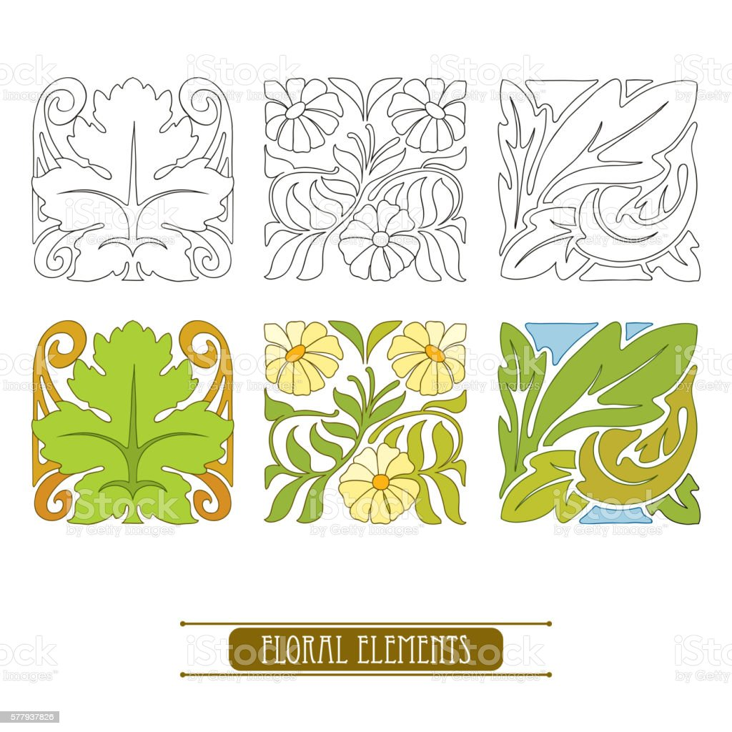 set with floral elements in art nouveau or modern style ぬりえ