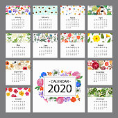 Set with floral frames for calendar, invitations and cards. Floral background with colorful flowers. Vector illustration