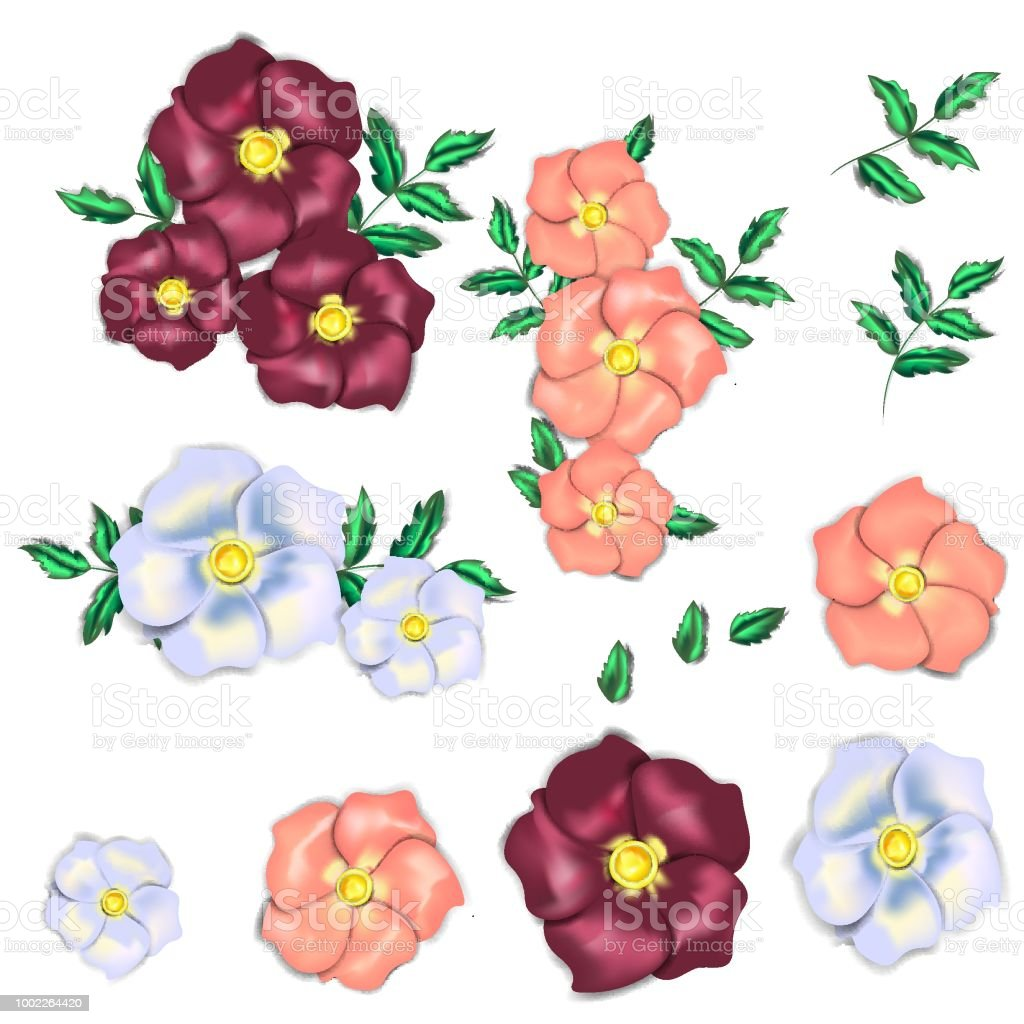 Set with flowers that look like they are made from silk. There are 3 colors of the flowers. векторная иллюстрация