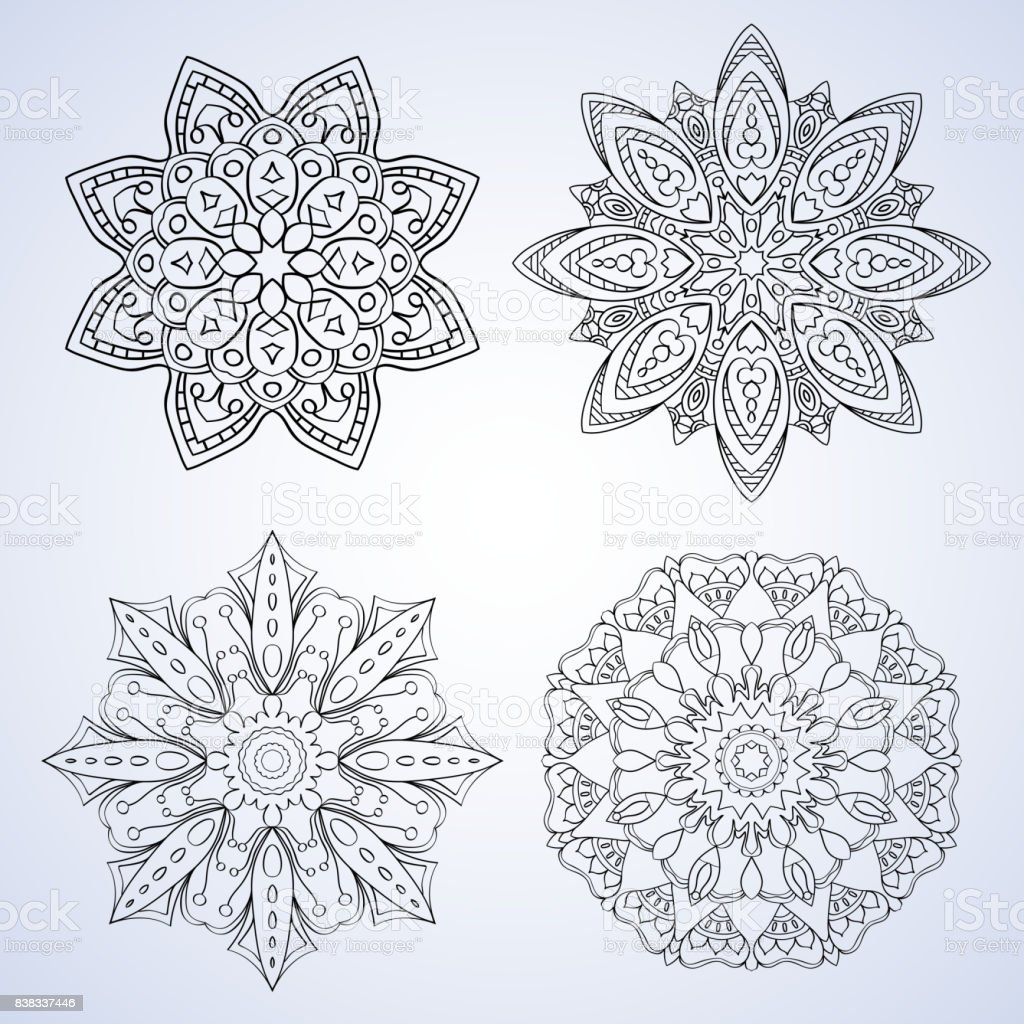 Set with four beautiful Mandalas. Vector ornaments, round decorative elements for your design vector art illustration