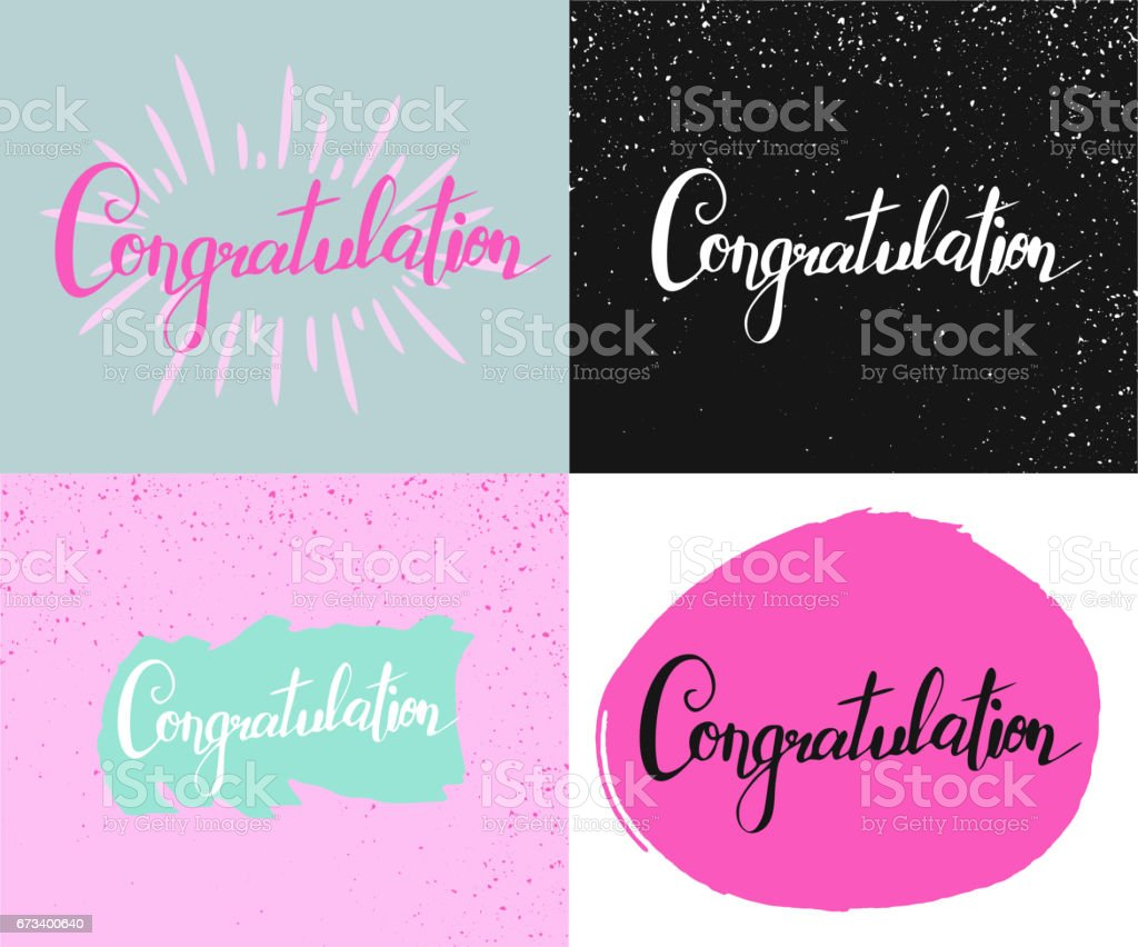 set with four cards with hand writing word congratulation stock