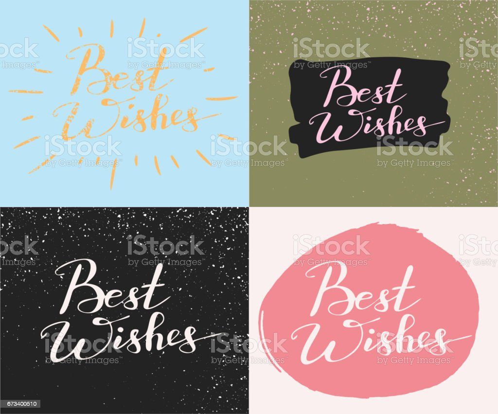 Set With Four Cards With Hand Writing Words Best Wishes Stock Vector ...