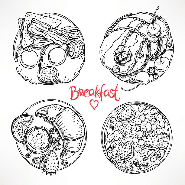 set with four sketch breakfast set with four different types of breakfast. hand-drawn illustration maple syrup stock illustrations