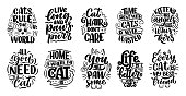 istock Set with funny lettering quotes about cats for print in hand drawn style. Creative typography slogans design for posters. Cartoon vector illustration. 1218582402