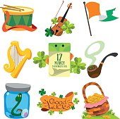 Set with greetings for St. Patrick's Day.