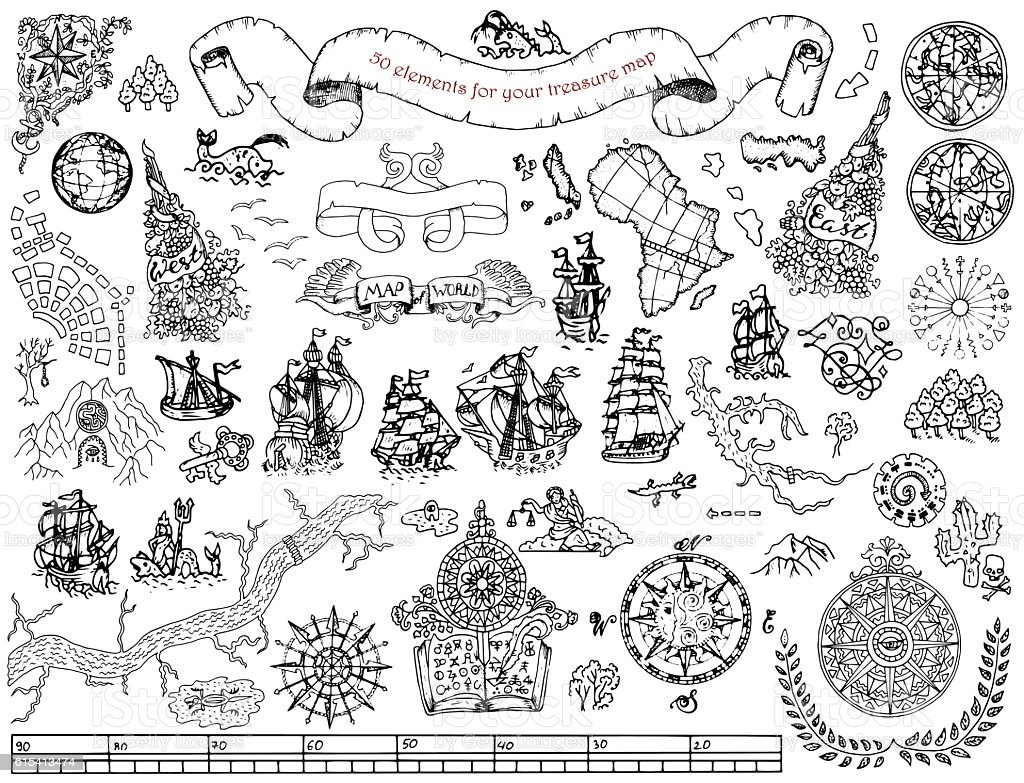 Set with hand drawn elements for treasure hunt and map vector art illustration