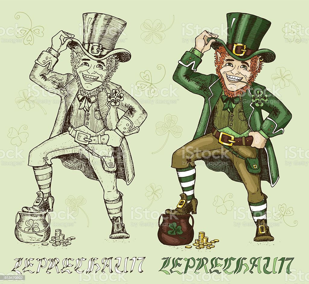Set with hand drawn leprechauns and clover vector art illustration