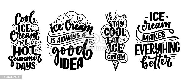 istock Set with hand drawn lettering compositions about Ice Cream. Funny season slogans. Isolated calligraphy quotes for summer fashion, beach party. Great design for banner, postcard, print or poster. Vector 1280334641