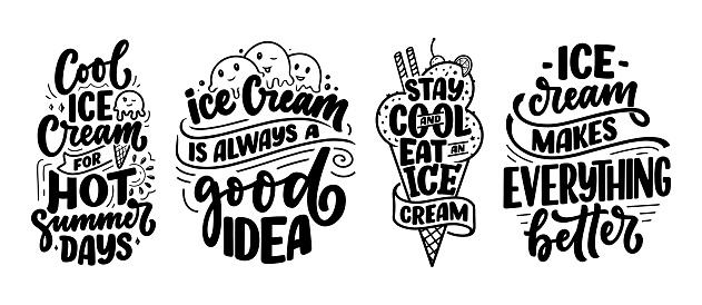 Set with hand drawn lettering compositions about Ice Cream. Funny season slogans. Isolated calligraphy quotes for summer fashion, beach party. Great design for banner, postcard, print or poster. Vector