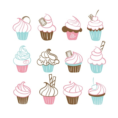 Set with hand drawn outline icons of cupcakes decorated with berries, cookies, cream, chocolate, wafer tube. Vector illustration in line style