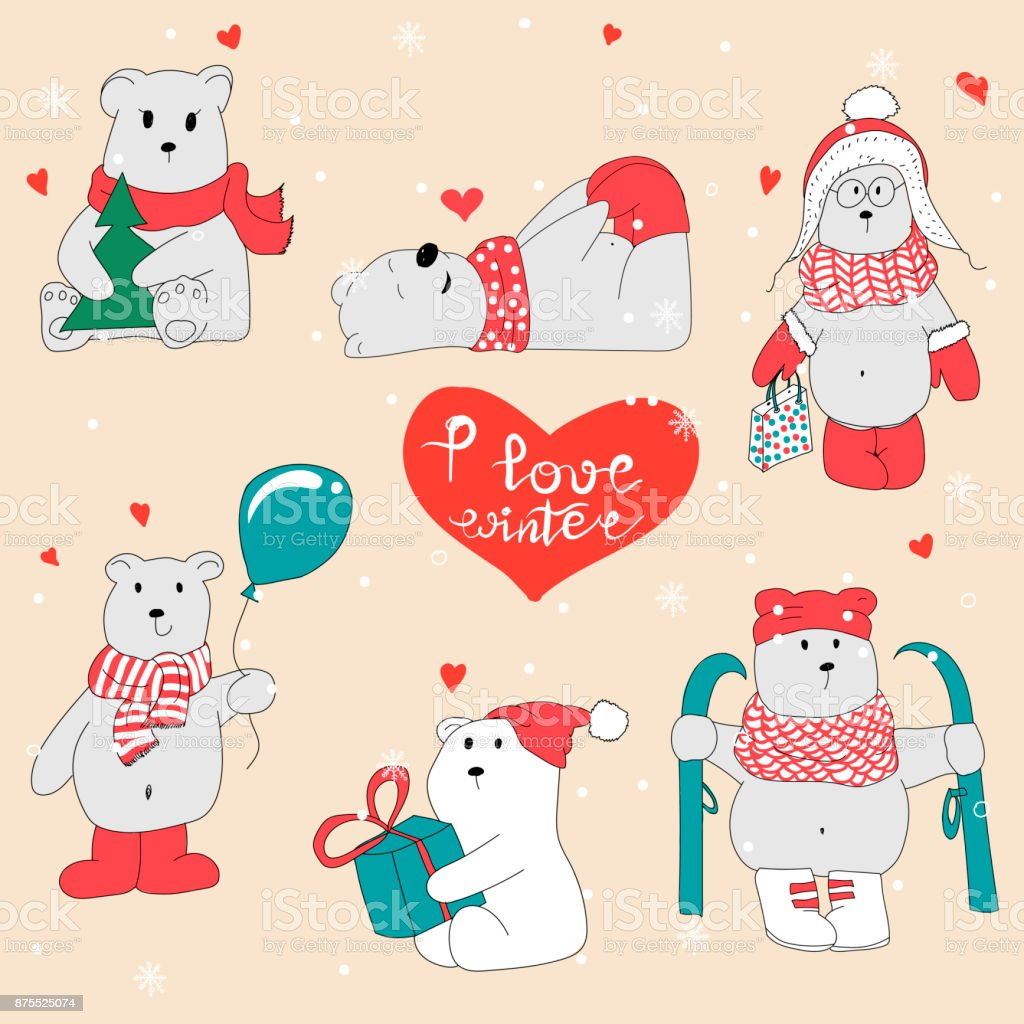 Set With Hand Drawn Polar Bears Merry Christmas Greetings With Cute