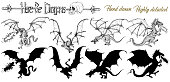 Set with hand drawn realistic detailed dragons and silhouettes on white