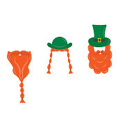 Set with hat, beard and mustache. Element for St. Patrick s Day. Cartoon illustration for pub invitation, t-shirt design, cards or decor