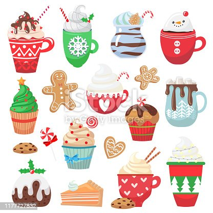 Set with holiday hot drink and dessert. Collection with funny cups. Cacao, tea, coffee, milk, cookie, candy. Vector illustration