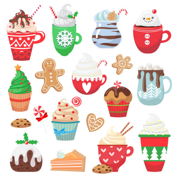 Set with holiday hot drink and dessert Set with holiday hot drink and dessert. Collection with funny cups. Cacao, tea, coffee, milk, cookie, candy. Vector illustration hot chocolate stock illustrations