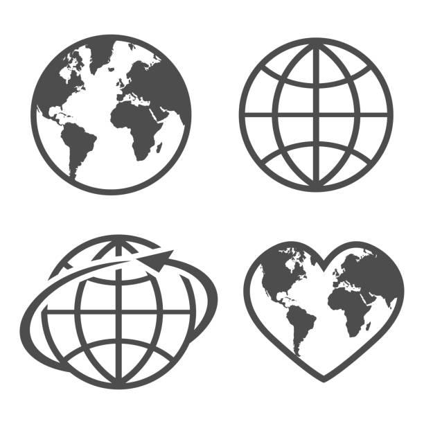 set mit symbol erde handschuh auf weißem hintergrund - globus stock-grafiken, -clipart, -cartoons und -symbole
