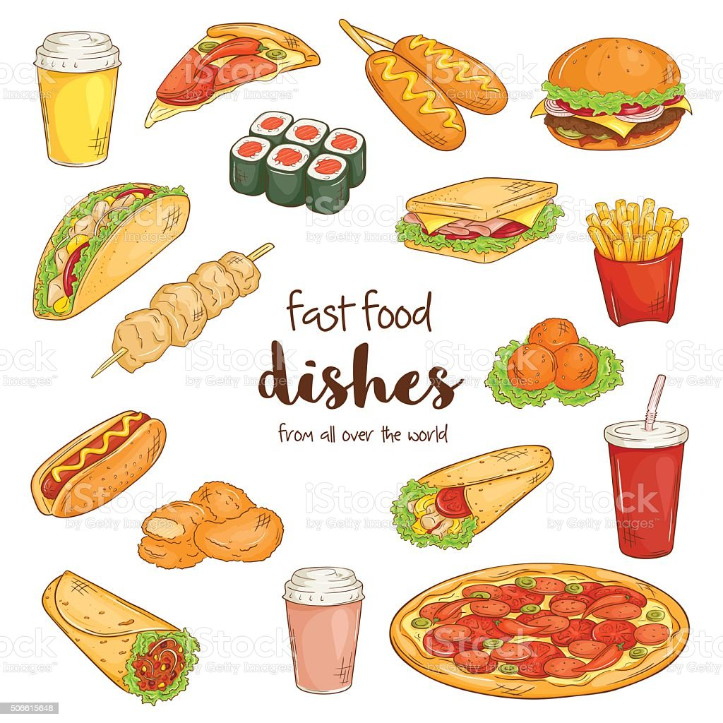 set with isolated cartoon hand drawn fast food dishes. vector art illustration