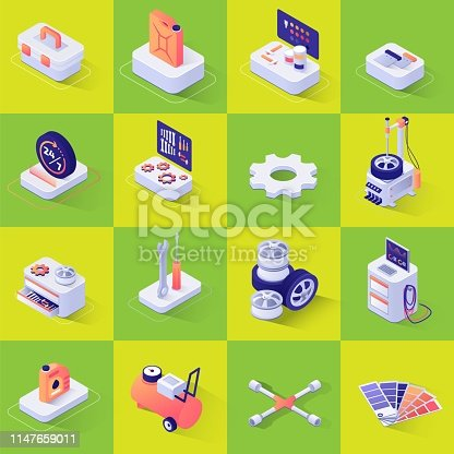 Set with Isometric Icons with Tools and Equipment for Automobile and Consumables Repair and Diagnostics, Wheel Replacement, Painting and Polishing. Vector 3d Illustration on Color Backdrop