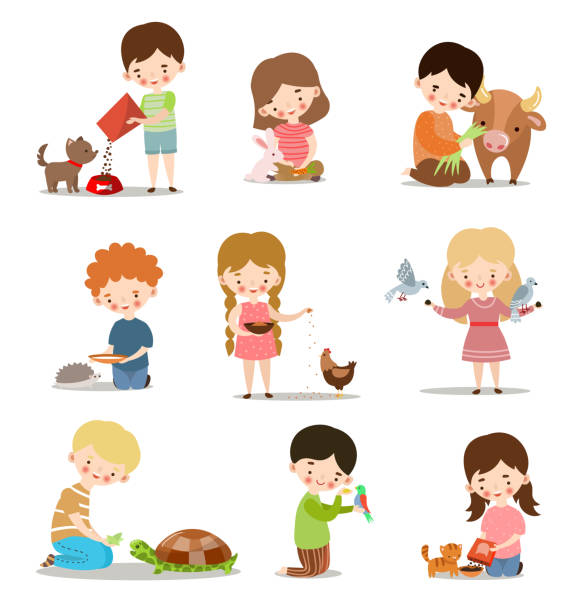 Set with kids feeding and taking care of wild and pet animals. Raster illustration in flat cartoon style Cute little boys and girls feeding animals set. Adorable kids caring for wild and domestic animals concept. Colorful raster flat isolated icons set. The clip art style on white background. foraging stock illustrations
