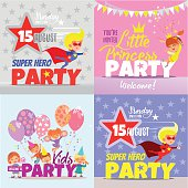 Set with kids party invitation design concepts.
