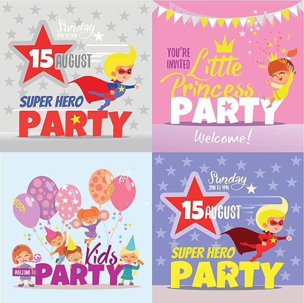 ilustrações de stock, clip art, desenhos animados e ícones de conjunto de modelo de convite com crianças conceitos. - baby super hero