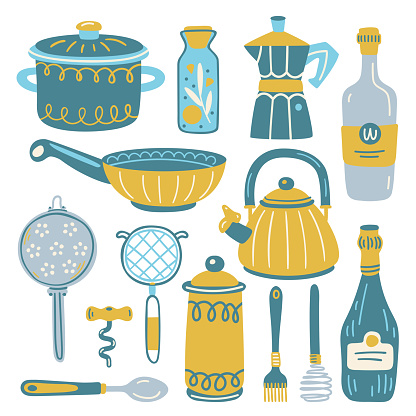 Set with kitchen utensil and appliance. Scandinavian illustration of kitchen elements in flat style. Funny cartoon texture with hand drawn food preparation and kitchenware. Vector doodle clipart.