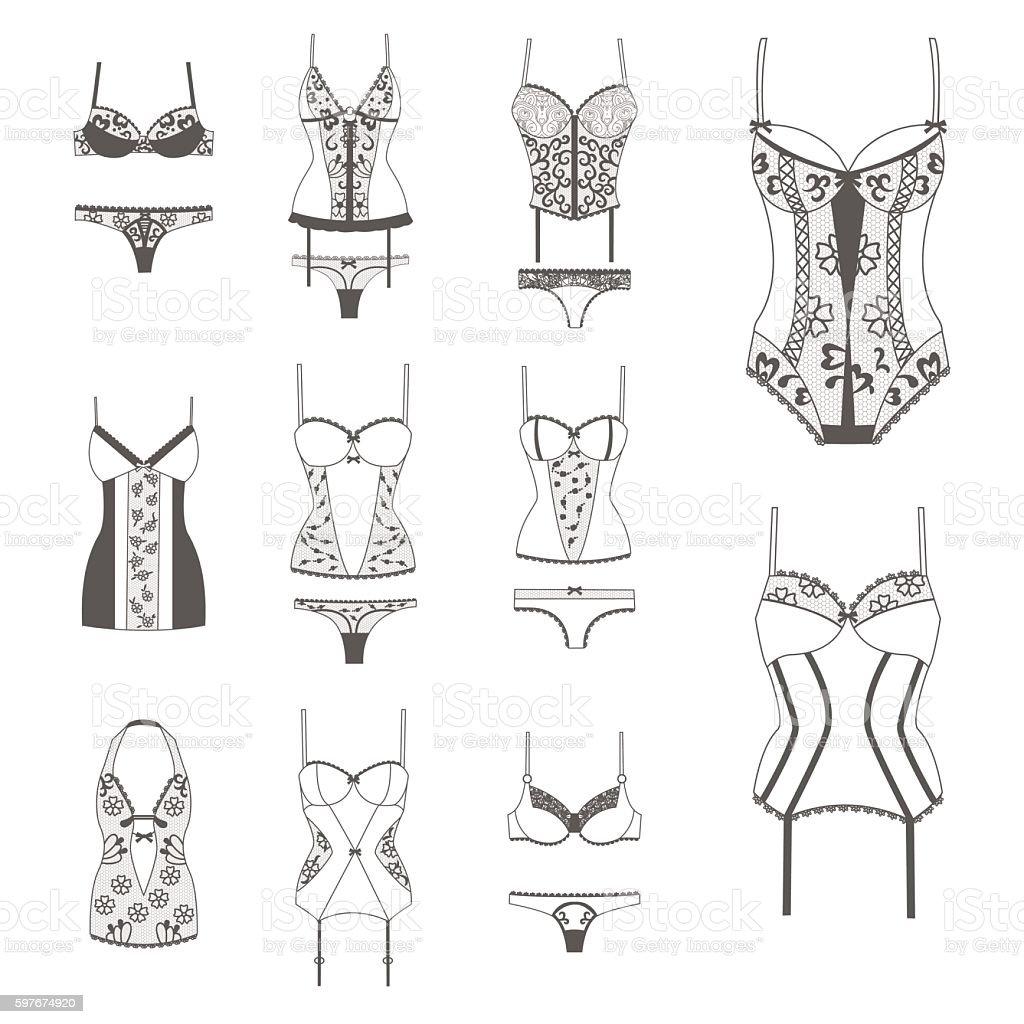 Set with lace lingerie. vector art illustration