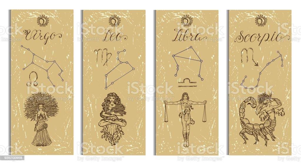 Set With Leo Virgo Libra And Scorpio Zodiac Symbols Banners On