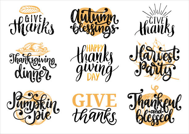 Set with lettering and illustrations for Thanksgiving Day. Give Thanks, Pumpkin Pie, vector drawn and handwritten labels Set with lettering and illustrations for Thanksgiving Day. Give Thanks, Pumpkin Pie, Harvest Party, Autumn Blessings, Thankful and Blessed, vector drawn and handwritten labels, cards. short phrase stock illustrations