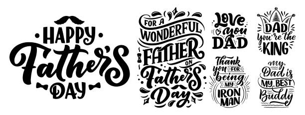 Set with lettering for Father's day greeting card, great design for any purposes. Typography poster. Vector illustration. Set with lettering for Father's day greeting card, great design for any purposes. Typography poster. Vector vintage illustration. fathers day stock illustrations