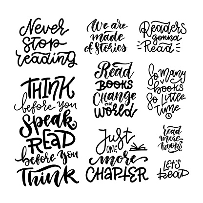 Set with lettering quotes about books and reading for poster design. Handwritten letters. Typography funny concepts. Vector hand drawn illustration
