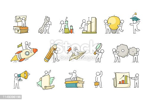 Cartoon set with little people and education symbols. Doodle cute miniature scene of workers with books, rocket. Hand drawn vector illustration for science design.Cartoon set with little people and education symbols. Doodle cute miniature scene of workers with books, rocket. Hand drawn vector illustration for science design.