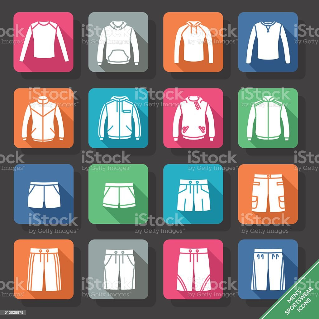 Set with men's Sportswear icons vector art illustration