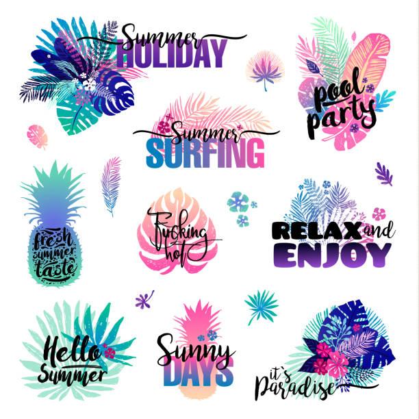 Summer Beach Vacation Symbols Tropical Holiday Signs Clip Art Vector Images Illustrations