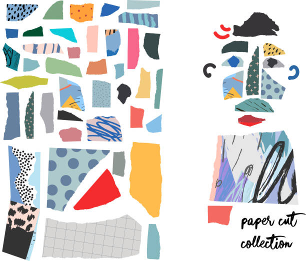 stockillustraties, clipart, cartoons en iconen met set met papier gesneden stukken - collage
