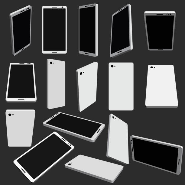 set with phones in different positions - angle stock illustrations