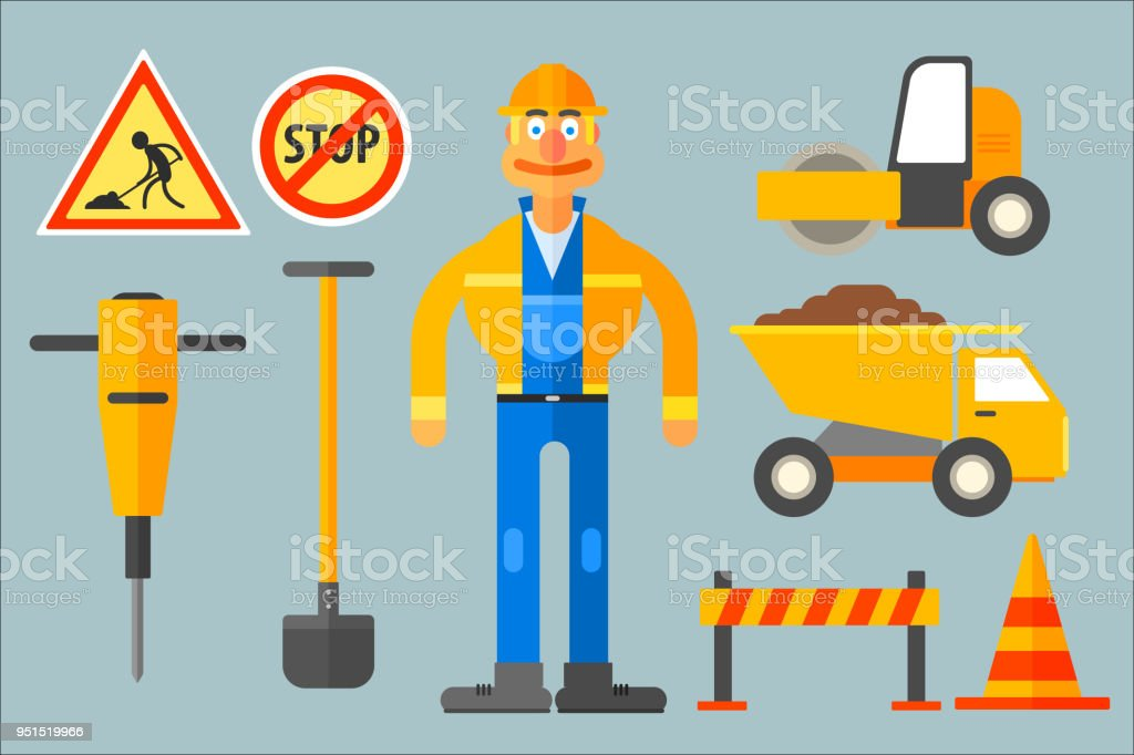 Line Art Uniform : Set with road worker and various equipment man in working uniform