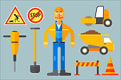 Set with road worker and various equipment. Man in working uniform, shovel, cone, dump truck, road roller, jackhammer, barrier and road signs. Colorful flat vector icons isolated on gray background.