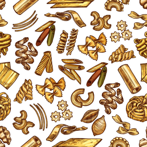 Set with samples of italian pasta Samples of italian pasta linguini, fettuccine, conchiglie, maccheroni or fagotini. Vector set with tortelloni or rigatoni, oregghiette or tortellini, rotelle or ditalini, gnocchi and ravioli tortellini stock illustrations