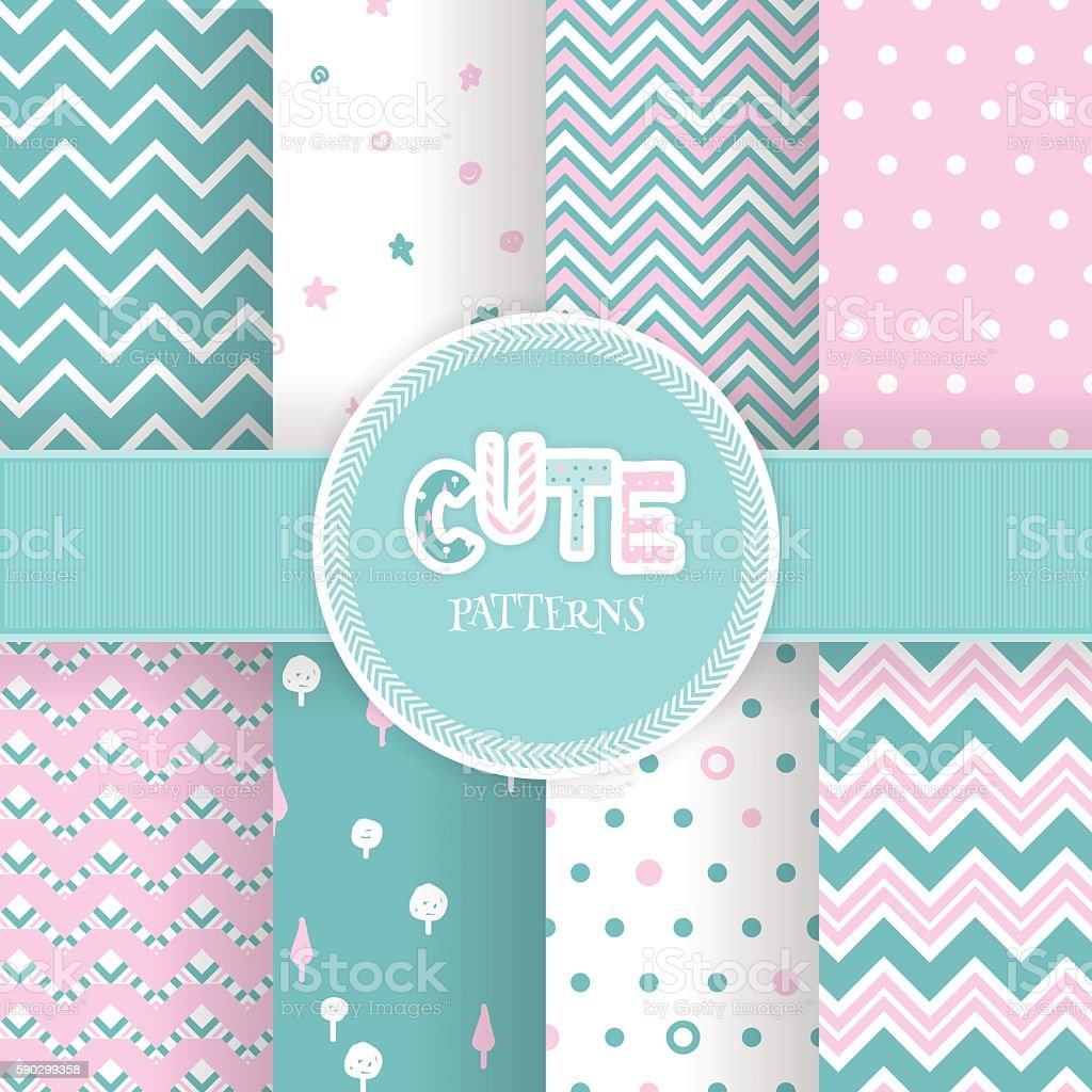 Set with seamless cute geometric pink and mint patterns. royaltyfri set with seamless cute geometric pink and mint patterns-vektorgrafik och fler bilder på abstrakt