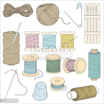 Set with sewing accessories on a white background. Spools of thread, pins, sewing needles, and a thimble. Colorful vector illustration in sketch style. Hand-drawn.