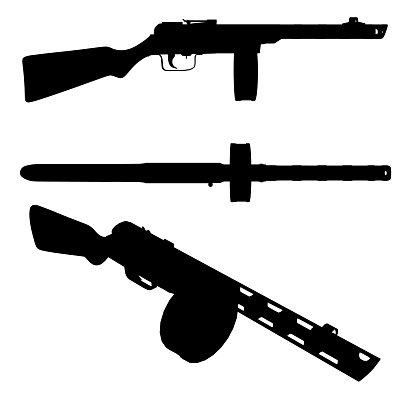 Set with silhouettes of a Russian machine gun in various positions isolated on a white background. Vector illustration