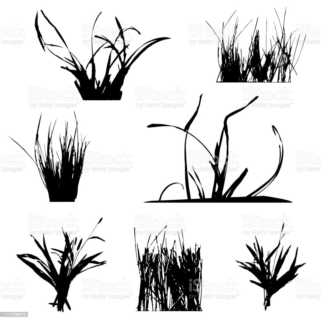 set with silhouettes of grass black and white vector illustration stock illustration download image now istock set with silhouettes of grass black and white vector illustration stock illustration download image now istock
