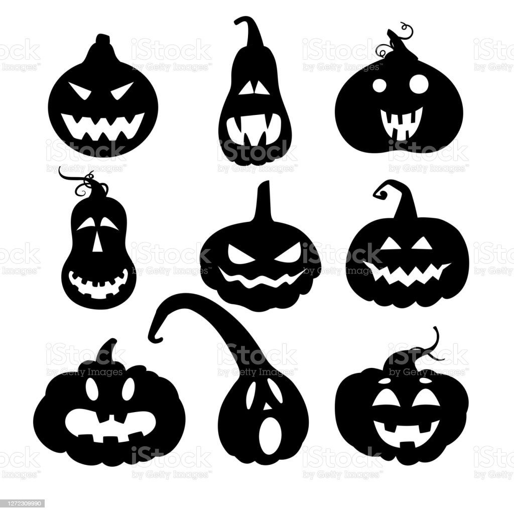 Set With Silhouettes Of Halloween Pumpkins With Carved Faces Vector Illustration For Packaging Design Gift Tags Decoration Stock Illustration Download Image Now Istock
